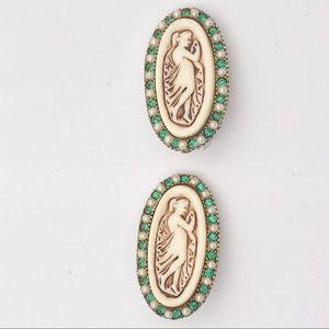 Art Nouveau Oval Goddess Green Rhinestone Earrings
